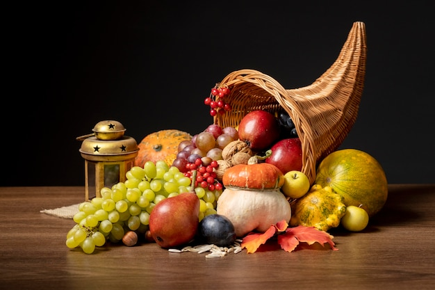Cornucopia composition with delicious foods