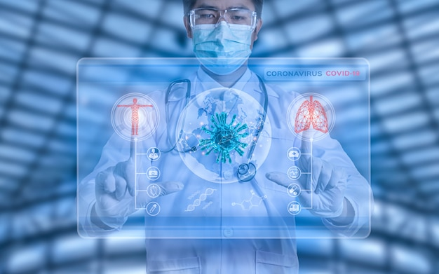 Футуристический инновационный вирус corona covid-19 доктор носить маску виртуальный цифровой ай инфографики данных технологий