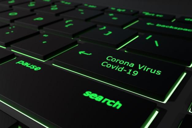 コロナウイルスのキーボードの概念と黒いコンピューターキーボードのテキスト-covid-19 for search
