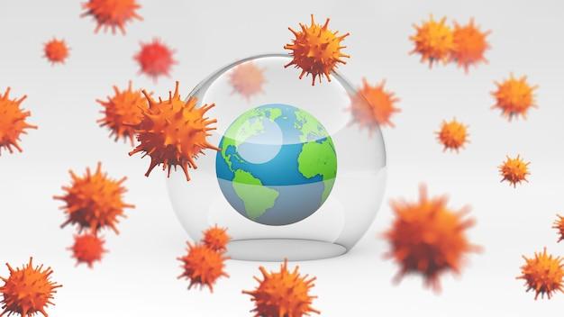 Коронавирус вспышка. концепция защиты от эпидемического вируса. 3d-рендеринг