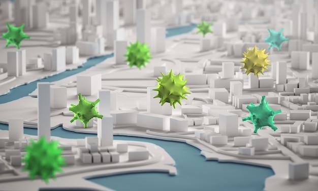Corona virus spreading across city concept. 3d rendering aerial view miniature city buildings