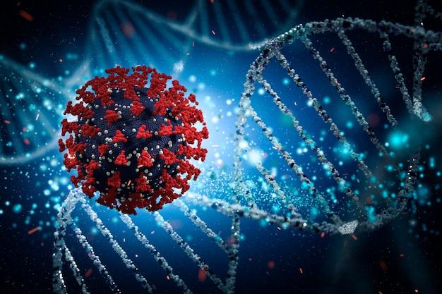코로나 바이러스 2019-ncov 3d 렌더링 모델. 감염성 바이러스의 현미경보기.