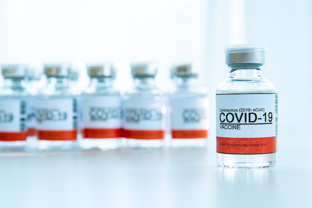 Coronavirus - 2019-ncov or covid-19 vaccine bottles for injection use only. urgent vaccine research and production use in covid-19 - coronavirus disease. covid-19 vaccine close up with copyspace.