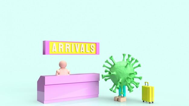 Счетчик прибытия регистрации коронавируса и люкса для рендеринга 3d контента