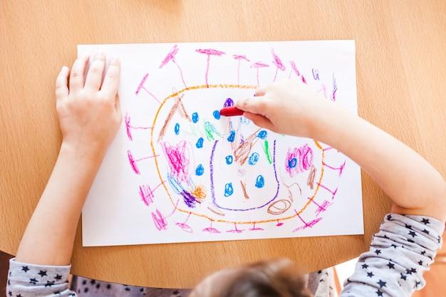 コロナウイルスは家の家族、子供の創造性、クレヨンの紙で描いた絵、隔離、時間の家、子供の発達を攻撃します