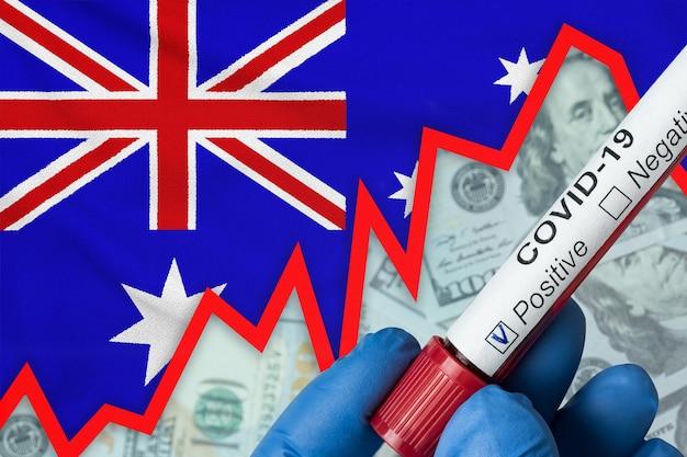 Coronavirus in australia. positive blood test on flag. increase in incidence. economic crisis.
