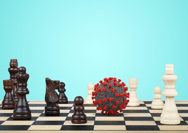 Coronavirus cell on chess table