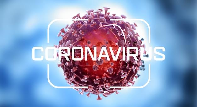 Coronavirus. close-up of virus cells or bacteria molecule. flu, view of a virus under a microscope, infectious disease