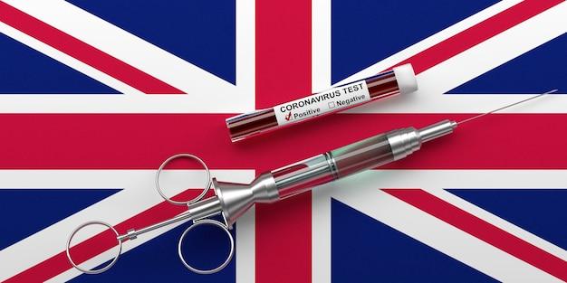 Концепция коронавируса в соединенном королевстве. шприц с вакциной и положительным тестом на коронавирус 2019-ncov на флаге соединенного королевства. 3d визуализация.