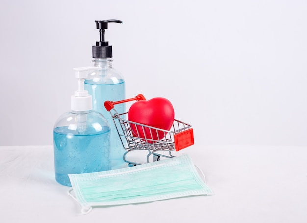코로나바이러스 코로나 바이러스 예방 여행용 외과용 마스크 및 손 소독제 젤