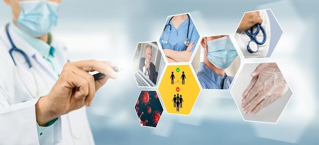 Coronavirus covid-19 image set banner in concept of prevention information