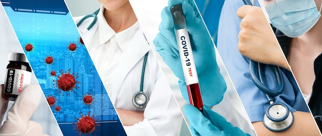 医療の概念でコロナウイルスcovid-19写真セットバナー
