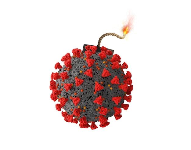 폭탄처럼 폭발 할 준비가 된 코로나 바이러스 covid-19. 위험성의 개념