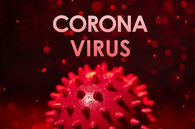 코로나 바이러스, covid-19 sars, 코로나 비리 대, sars-cov, sarscov, 바이러스 2020, mers-cov, 바이러스 2019-ncov. 빨간색 배경과 물 얼룩에 바이러스 분자 개념