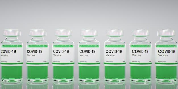 コロナウイルスコビッド-19ワクチンボトル。 sars-cov-2。ワクチンの3dレンダリング