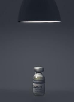 黒い天井ランプの下のコロナウイルスcovidワクチンバイアル。ヘルスケアと医療の概念。