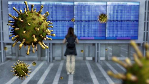 Coronavirus floating on air while woman looking airport board with cancelled planes