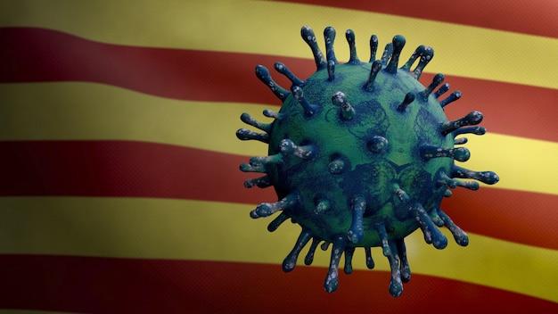 カタルーニャ独立旗の上に浮かぶコロナウイルス