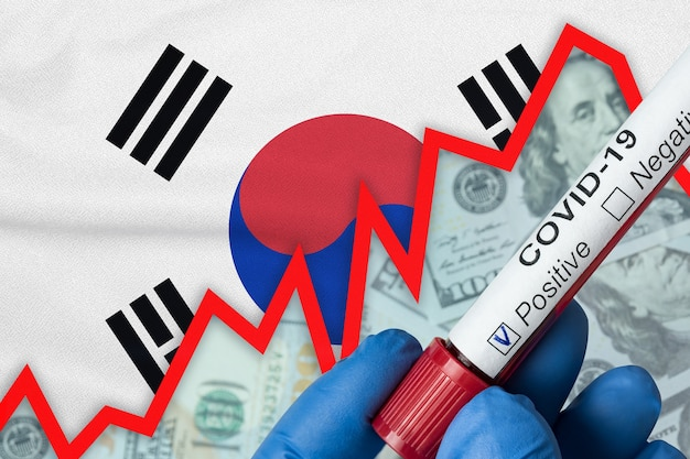 韓国のコロナウイルス。旗の背景に陽性の血液検査。発生率の増加。経済危機。
