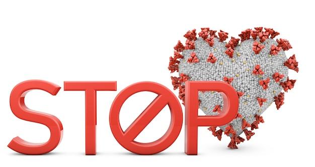 Коронавирус в форме сердца рядом с объемным текстом stop
