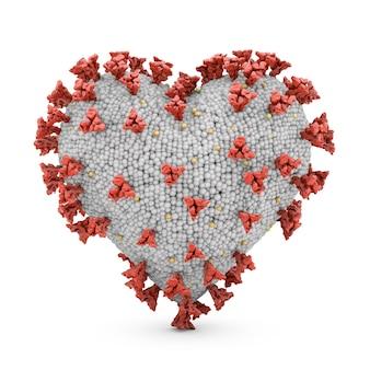 흰색 표면에 심장 모양의 코로나 바이러스