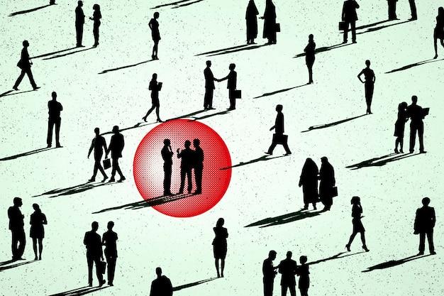 Зараженные коронавирусом люди на иллюстрации толпы