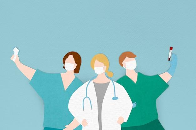 Баннер персонажей медицинского персонала коронавируса