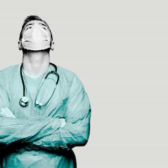 Медицинский персонал коронавируса со стетоскопом