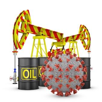 Коронавирус, нефтяные бочки и насосы на белом