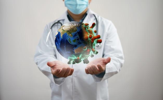 Концепция заражения коронавирусом или covid-19. эпидемия вирусных заболеваний, 3d иллюстрации