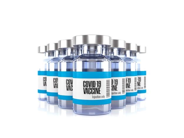 白いシーンの3dレンダリングで分離されたコロナウイルスまたはcovid19ワクチンバイアルガラス瓶