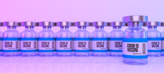 選択的焦点とぼかしシーンの3dレンダリングを備えたコロナウイルスまたはcovid19ワクチンバイアルガラス瓶