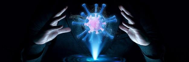 Вспышка коронавируса, микроскопический вид клеток вируса гриппа. 3d иллюстрации
