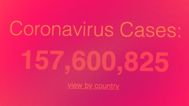 画面上のコロナウイルスパンデミック統計covid19症例の増加増加を示す地図データ