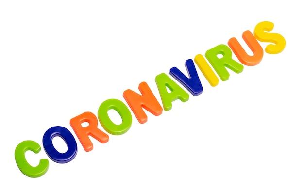 Coronavirus pandemic text coronavirus on a white background