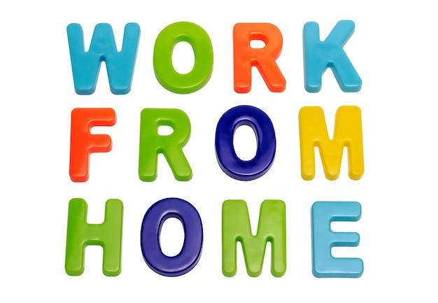 コロナウイルスのパンデミックテキスト白い背景に自宅で仕事をする人々にホームから仕事をするよう呼びかける