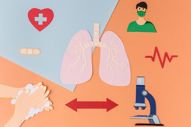 Элементы профилактики коронавируса и здоровья в бумаге