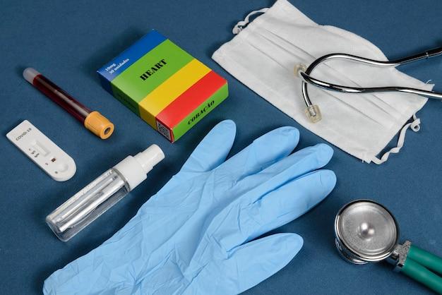 Coronavirus protection kit on dark blue background