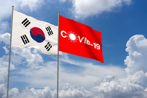 Coronavirus in south korea 3d rendering