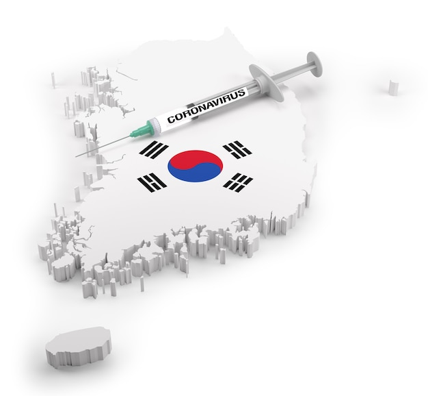 Coronavirus syringe on flag map of south korea. 3d rendering