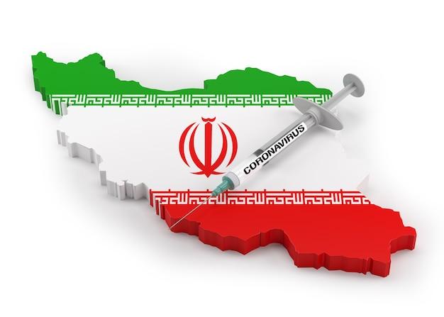 이란의 국기 지도에 코로나바이러스 주사기. 3d 렌더링