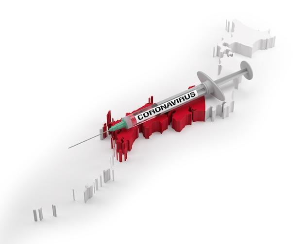 日本の旗地図上のコロナウイルス注射器。 3dレンダリング