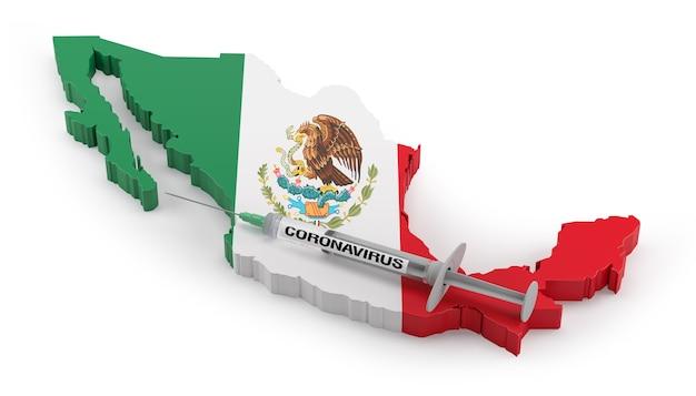 メキシコの旗地図上のコロナウイルス注射器。 3dレンダリング