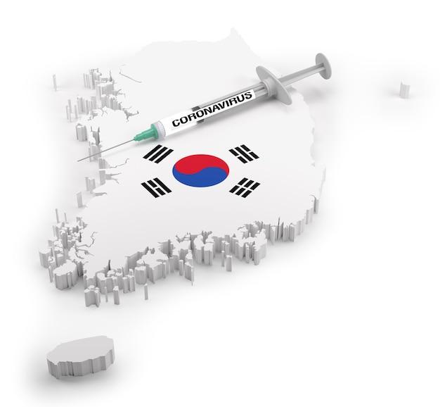 韓国の旗地図上のコロナウイルス注射器。 3dレンダリング