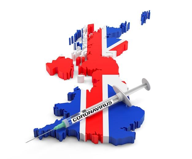 Coronavirus syringe on united kingdom map. 3d rendering