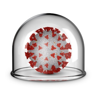 Коронавирус под стеклянным куполом на белом фоне. 3d-рендеринг.