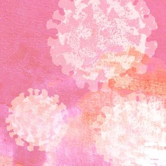 분홍색 배경 그림에 현미경으로 코로나 바이러스