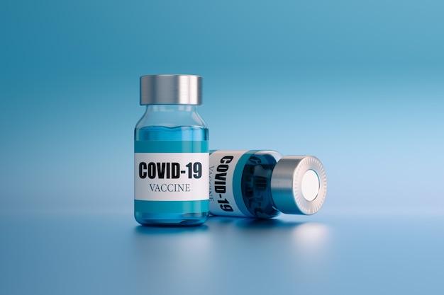 Ампулы вакцины против коронавируса, на голубом