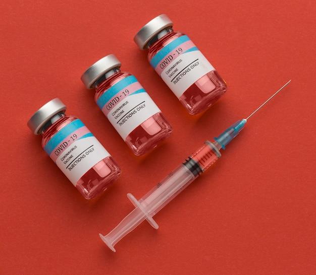 コロナウイルスワクチンボトルの配置