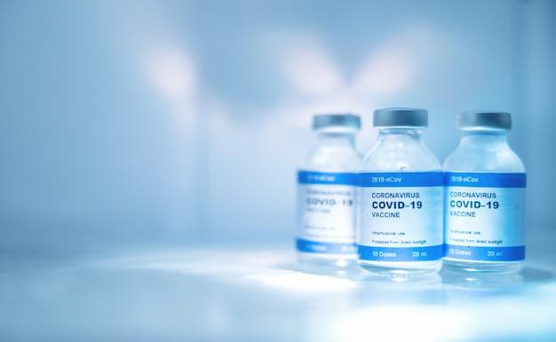 Coronavirus vaccine bottle virus covid-19 in a refrigerator